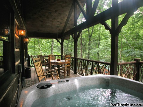Hot tub on deck with Rhododendron railings (Cherokee Lodge) (#15 of 19) - Creekside luxury log cabins in the Smokies