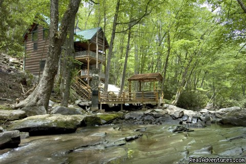 Creekside deck with hot tub and fireplace (Slippery Rock) (#19 of 19) - Creekside luxury log cabins in the Smokies