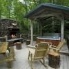 Creekside deck with fireplace and hot tub (Waters Edge)