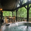 Hot tub on deck with Rhododendron railings (Cherokee Lodge)