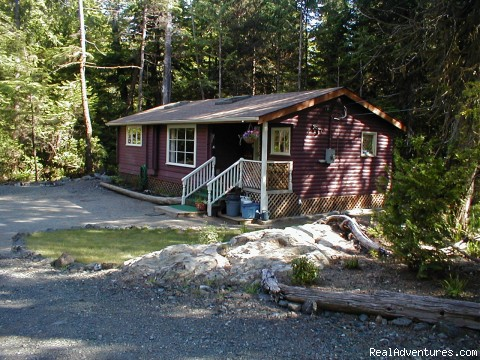 Comfortable 2 B.R. Log Cabin with private beach: Kayak Cove Cabin