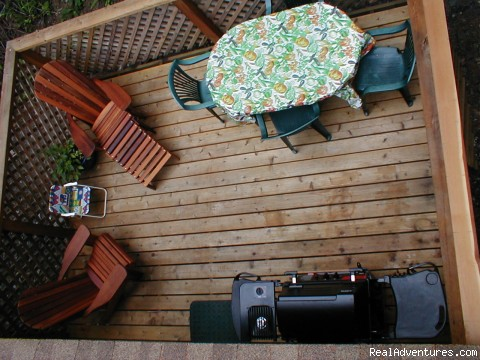 Top view of Deck - Comfortable 2 B.R. Log Cabin with private beach