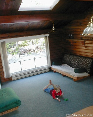 Spacious Living Room - Comfortable 2 B.R. Log Cabin with private beach
