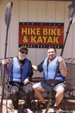 Kayakers in front of our shop - Hike Bike Kayak Sports, Inc.