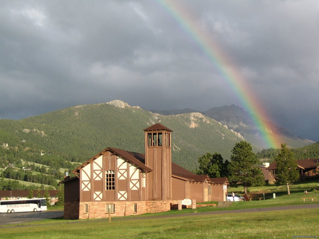 Rainbow over Hyde Chapel | Image #4/14 | Family and Group fun in our lodges and cabins.