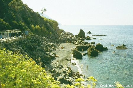 The beach - a green oasis on the sea of Cinque Terre