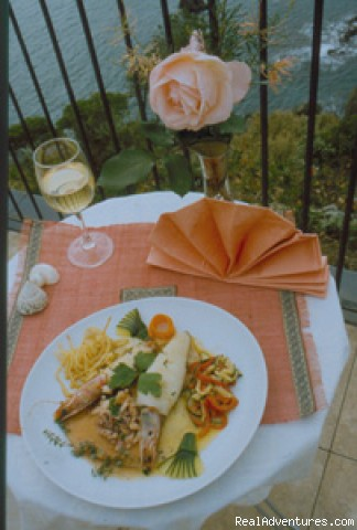 a typical fish dish - a green oasis on the sea of Cinque Terre