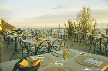 the terrace of the restaurant - a green oasis on the sea of Cinque Terre