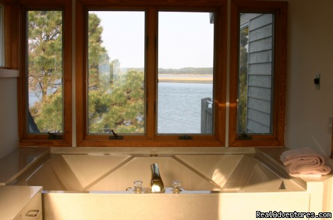 Island Time, Master bath view - Chincoteague Island Waterfront Home