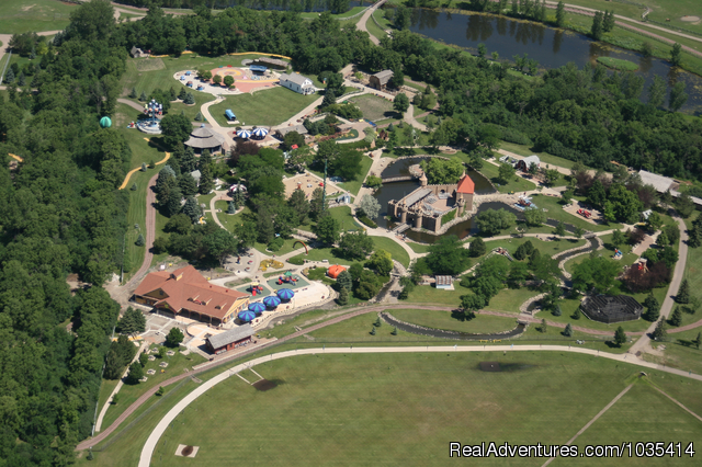 Aerial view of Storybook Land & the Land of Oz - Wylie Park Campground & Storybook Land theme park