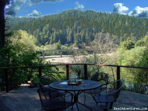 A Romantic Russian River Front Cabin Getaway: Deck View of River and Mountains
