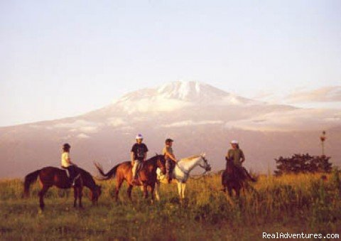 Unique Horseback Riding Safaris & Vacation on the Slopes of Mt. Kilimanjaro in Tanzania. Explore untouched African bush in remote areas of West Kilimanjaro, Maasai Steppe, Hot Springs, enjoy rides to tribal people and game viewing from horseback.