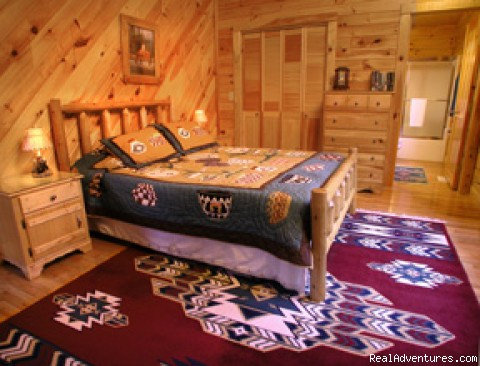 Comfy, spacious bedrooms - Romantic Log Cabin In Woods Near Nantahala Lake