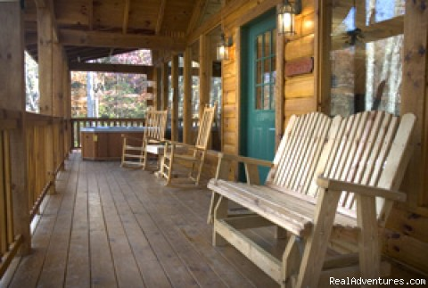 Wide front porch with rockers & hot tub - Romantic Log Cabin In Woods Near Nantahala Lake