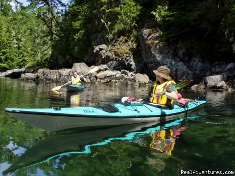 Quiet water in the lagoon - Sea Kayaking Adventures on Vancouver Island