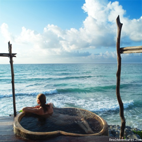 Azulik Outdoor Bathtub - EcoTulum Resorts & Spa Mexico