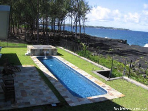 Hale Mar: your luxury oceanfront home on the Big Island of Hawaii, with private pool and hot tub, near the active Volcano, famous snorkeling tidepools, black sand beaches, waterfalls & more.  See whales, hear the crashing surf from every room!
