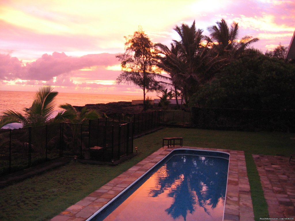 Sunrise over the Pacific and the pool | Image #5/21 | Hale Mar: Luxury Oceanfront Home w Pool & Hot Tub