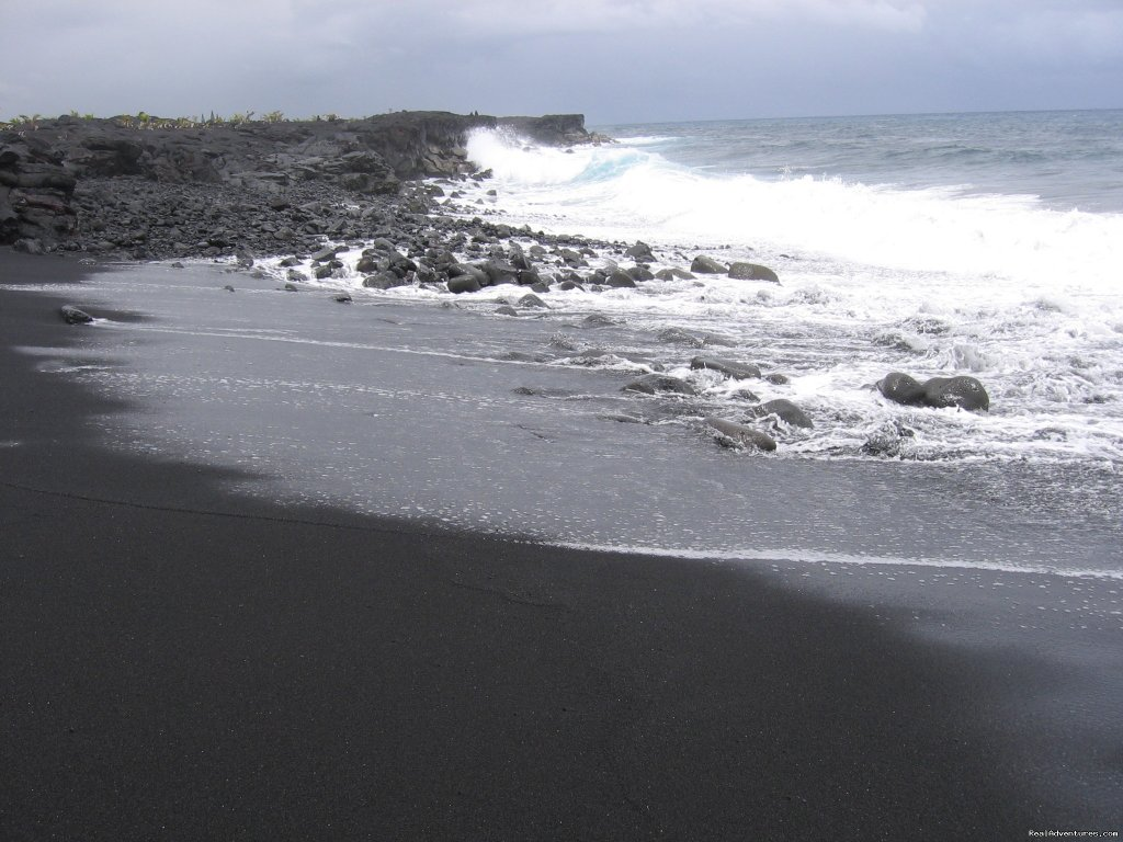 Sparkling black sand beach | Image #17/21 | Hale Mar: Luxury Oceanfront Home w Pool & Hot Tub