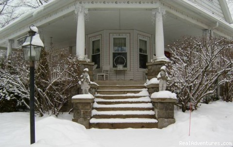 Winter front entrance - Romantic Getaways Year-Round at Elegant Inn
