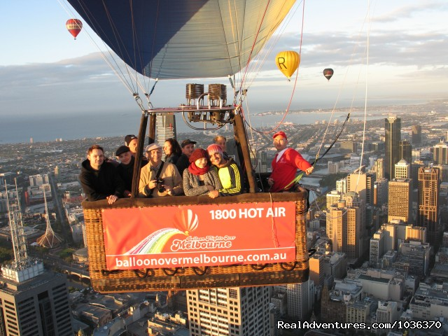 Flying through the middle of town in a hot air balloon. (#3 of 5) - Hot air ballooning over Melbourne