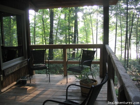 Porch overlooking lake @ 2 Cottage - Nature, Comfort & Simplicity, Virginia Cottages