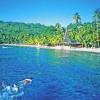 pristine coral reefs off shore