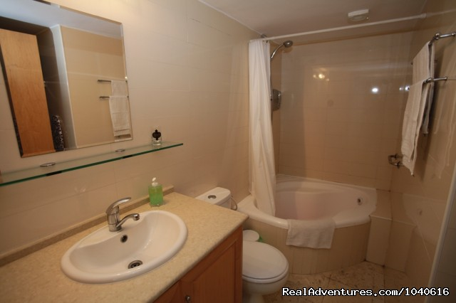 Corner tub and shower - Stylish Vacation Apartments in Jerusalem