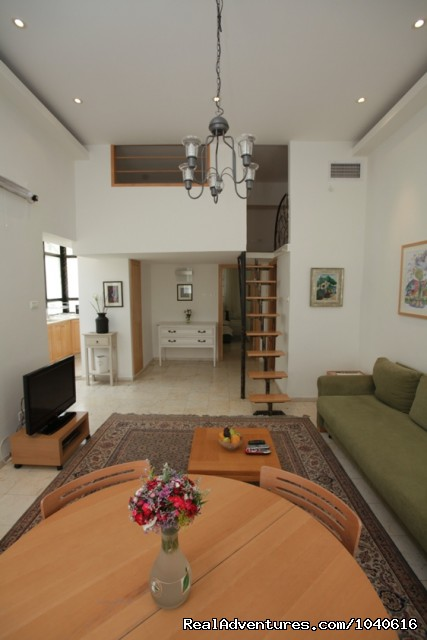 View of the bedroom and sleeping loft from the lounge (#6 of 15) - Stylish Vacation Apartments in Jerusalem