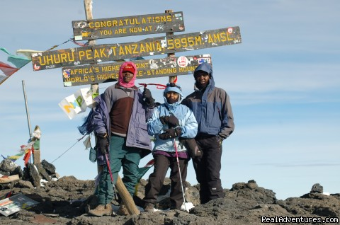 At the summit of Kilimanjaro - Climbing Mt Kenya/kilimanjaro/wildlife Safaris