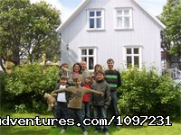 In front of the two storey house - Apartmenthouse Forsaela - Reykjavik, Iceland