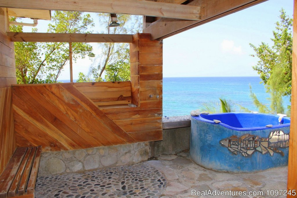 Love Nest, open shower and soaking tub | Image #15/22 | Back to Eden Strawberry Fields Together Jamaica