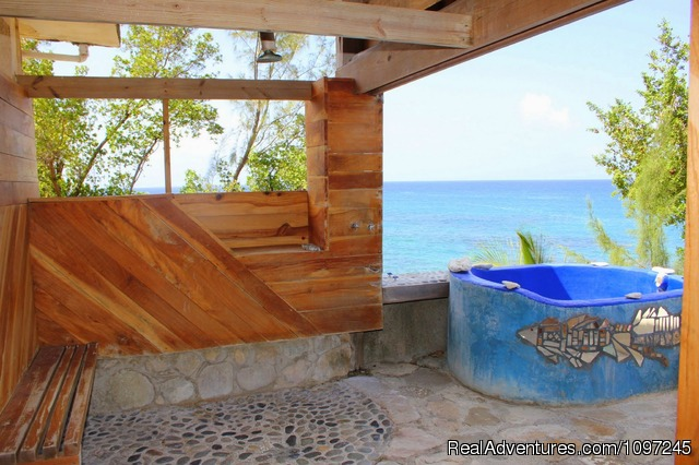Love Nest, open shower and soaking tub - Back to Eden Strawberry Fields Together Jamaica