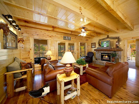 Luxury Furnished Living Room - Pigeon Forge Cabin Rentals with Majestic Views