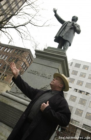 Andy in front of Joseph Howe statue - Ghost Walk of Historic Halifax