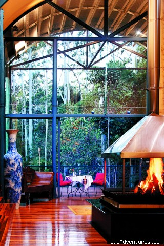 Fireplace in Main Lodge - Romantic luxury adult rainforest retreat