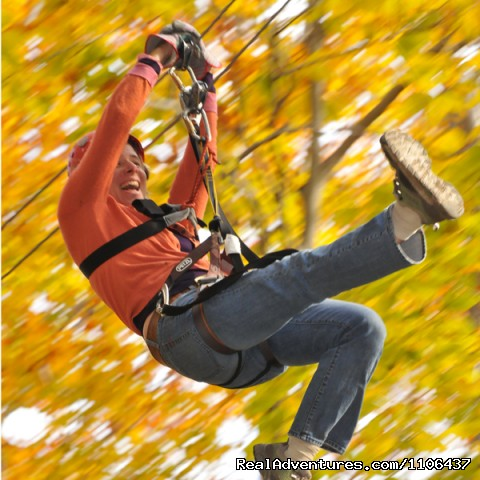 Zipping during the fall colors - Rafting and Zip Line Adventures in Massachusetts