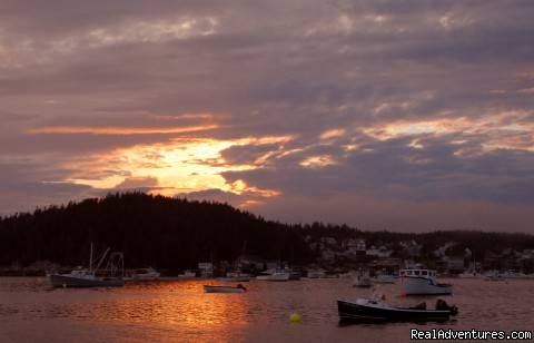 Stonington Harbor at sunset - Sail the Maine Coast on the Schooner Stephen Taber