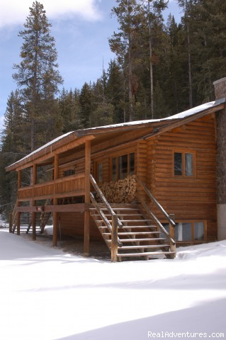 winter view of cabins - Montana Ranch Vacation