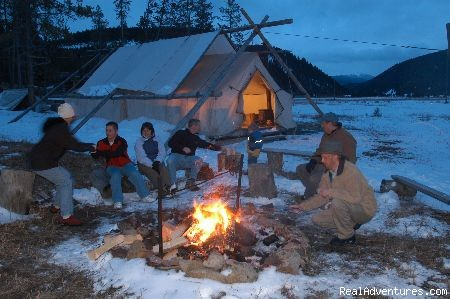 winter campfire after sleigh ride - Montana Ranch Vacation