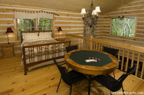 Loft bed and Poker Table - Over The Edge Cabin-A place to unwind