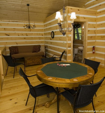 Loft Poker Table, Futon and Bath - Over The Edge Cabin-A place to unwind