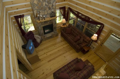 Living Room from Loft - Over The Edge Cabin-A place to unwind