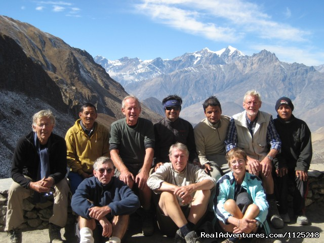 Group photo after throung la pass at phedi - Annapurna  Circuit  Trek Nepal