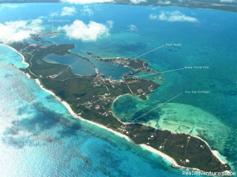 Aerial photo of Cocobay Cottages - Bonefishing or snorkeling at your doorstep