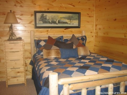 Cowboy room with queen log bed. - Luxury Cabin, FREE Night, Firepit, Mtn Views, NEW