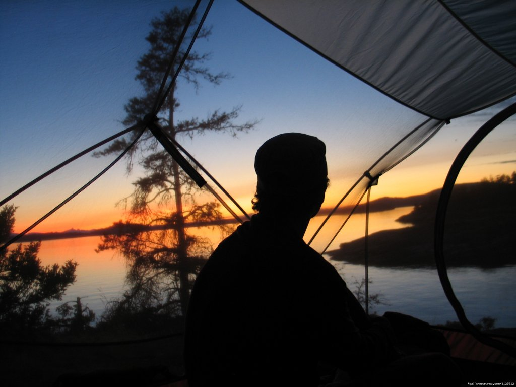 Sunset from the tent | Image #20/25 | Sea Kayak Tours Desolation Sound, British Columbia