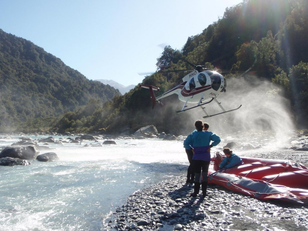 Chopper landing at put in | Image #7/13 | Heli Rafting, half day to Multi day Adventures