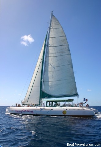 Nina of St Barth Maxi-cat under sails - SAINT BARTH ACTIVITIES, ATVs and CAR RENTAL