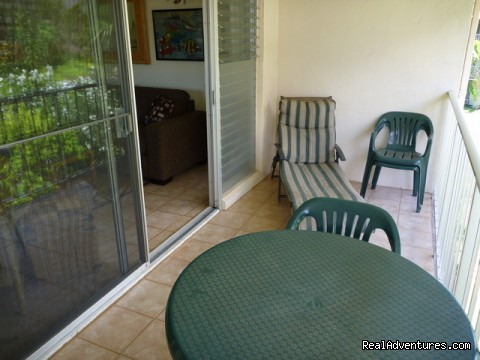 Private lanai has ocean view  - OCEAN VIEW FROM ALL ROOMS-Top Floor, End Unit